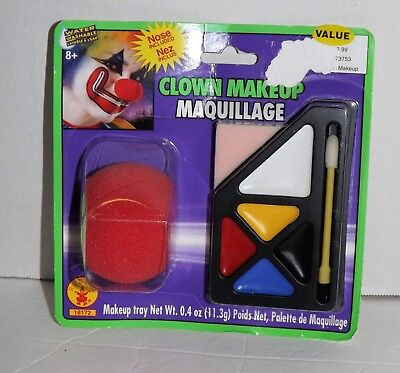 Halloween Make Up Set (Clown Make-Up Set with Nose 5 Color Palette, Haunted House Halloween Carnival)