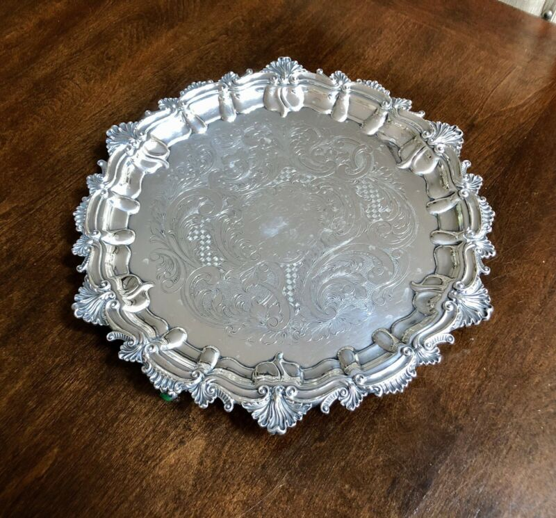 "Ornate  Scroll Shell GORHAM SILVER Plate ROUND SERVING TRAY PLATTER 13"" England"