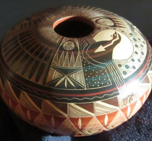 Ralph Aragon Hand etched Jar
