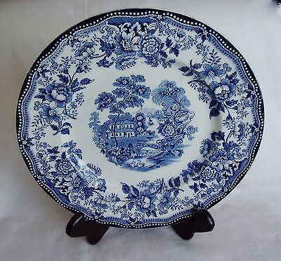 """Vintage Royal Staffordshire Clarice Cliff Tonquin Blue White 10"""" Dinner Plate"""