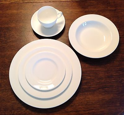 WEDGWOOD WHITE BONE CHINA by WEDGWOOD ~ 6 PC. SETTING ~ EXCELLENT CONDITION