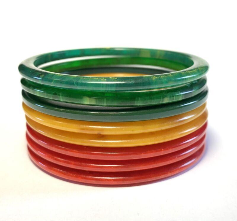 Vintage Stack 8 Bakelite Spacer Bangle Bracelets Green Yellow Red Set Lot Tested