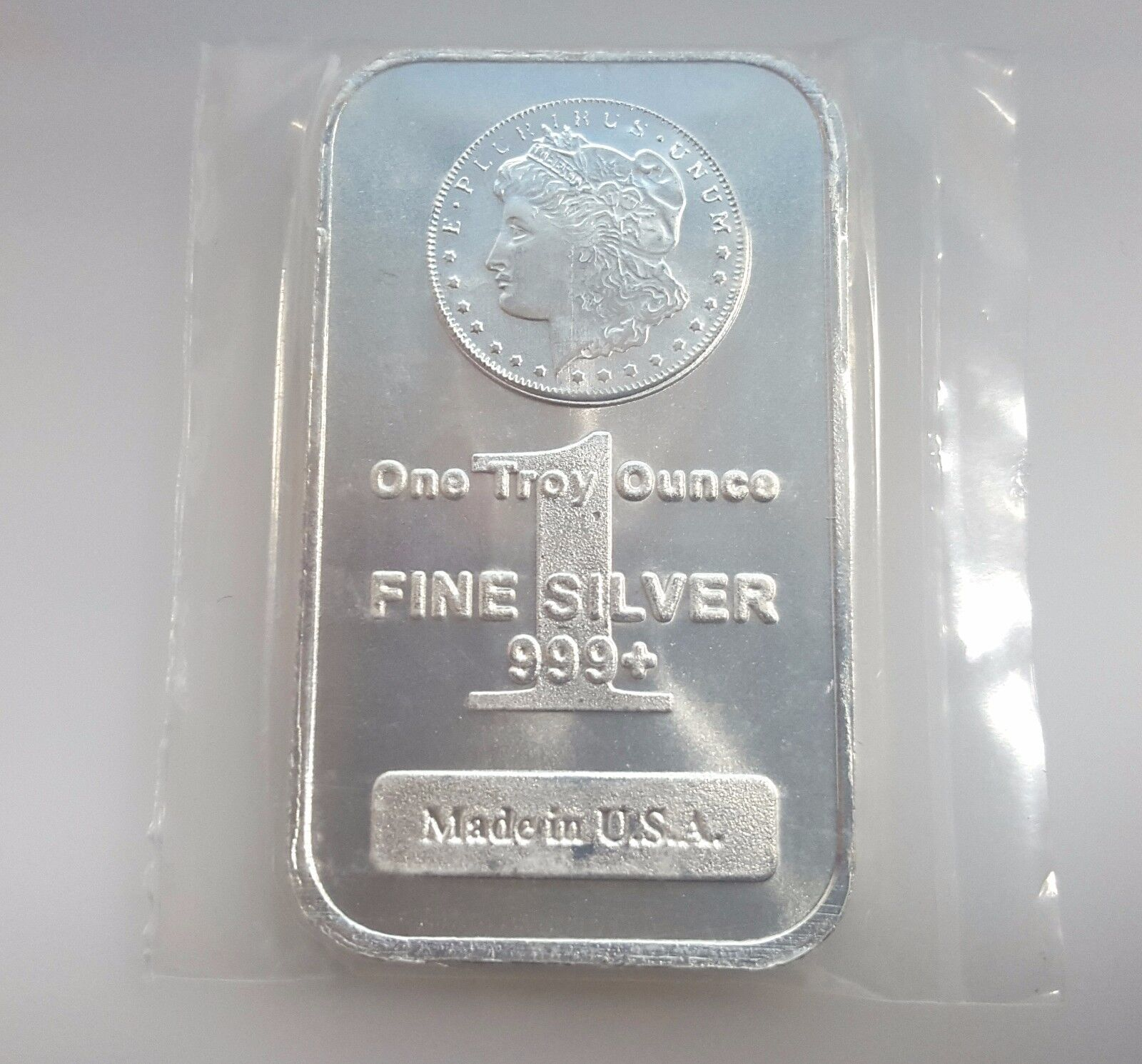 One Troy Ounce Fine Silver MORGAN SILVER BAR MADE IN THE USA