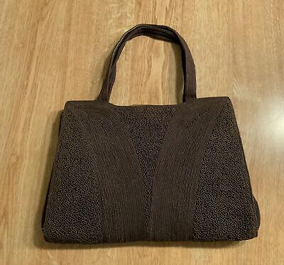 1940s Handbags and Purses History Vintage 1940s Brown Corde Handbag w/Intricate Design Bronze Color Snap Closure. $45.00 AT vintagedancer.com