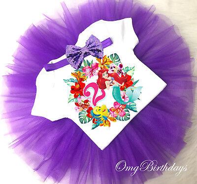 Little Mermaid  2nd Second Birthday Cupcake Shirt Tutu Bow Headband Outfit Set - Cupcake Headband