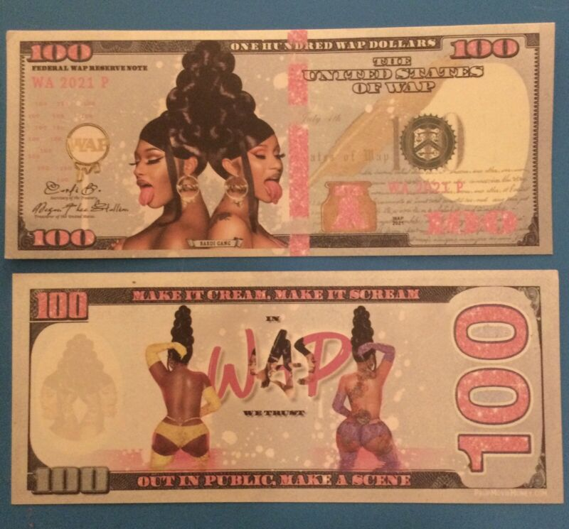 Cardi B - Megan Thee Stallion WAP Promotional 100 Dollar Bill