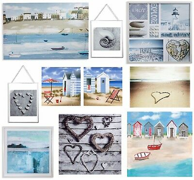 Nautical & Blue Seaside Beach Wall Art Pictures Canvas Home Decor - Seaside Decorating Accessories
