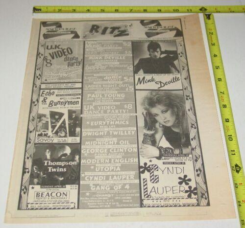 Cyndi Lauper Utopia Concert  AD Advert 1984 Tour The Ritz 11th St NY  Pop Rock