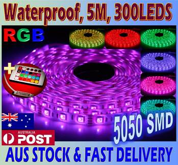 12V 5050 RGB 5M 300 LED Waterproof strip light Remote Controller