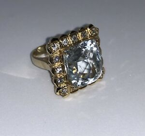 Ring 14KT gold ladies with 13.42 ct. Plus 0.68 ct.