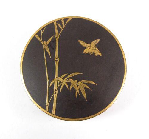 Exquisite Meiji Antique Japanese Signed Damascene Round Trinket Box Birds Bamboo