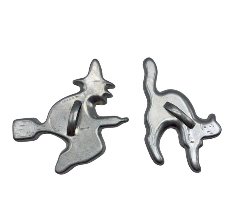 Vintage Cookie Cutters Witch on Broom and Hissing Cat Aluminum Halloween