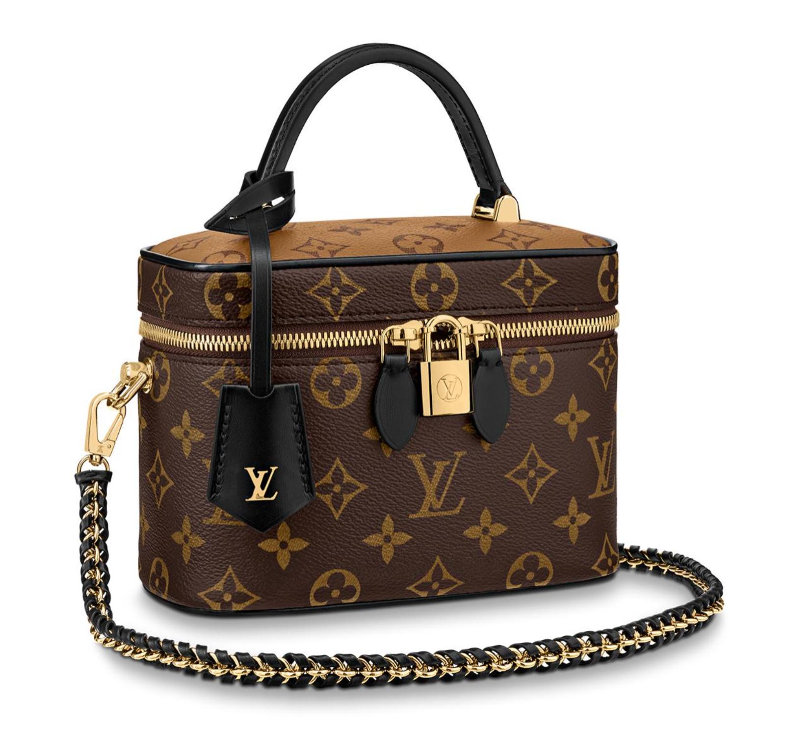 Louis Vuitton Vanity PM Reverse Mini Brown Monogram LV Logo Handle Shoulder Bag