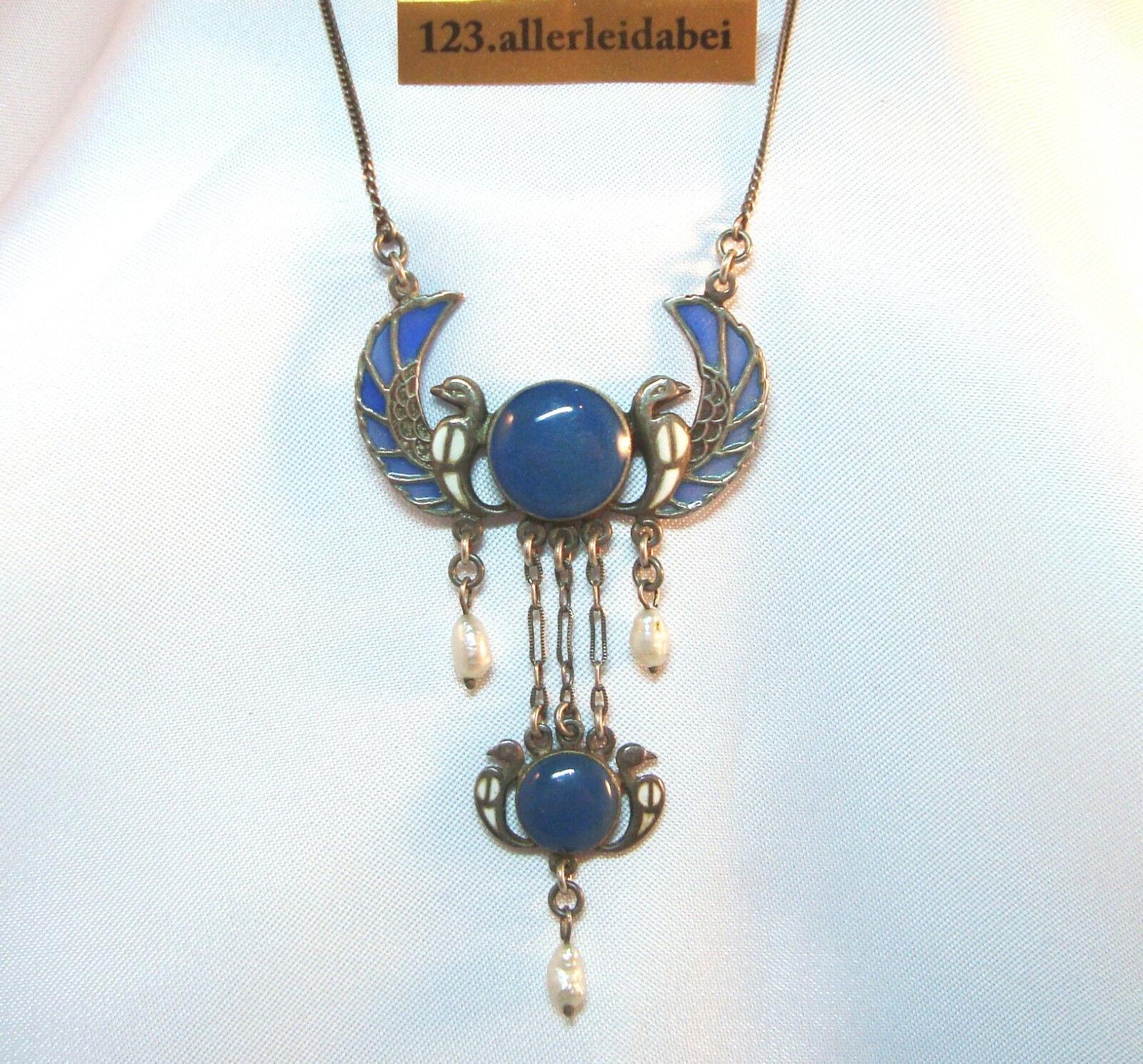 Silber Collier emailliert plique a jour Kette emaille art nouveau 1915 AU 553