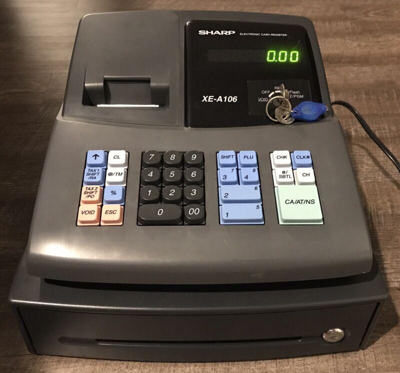 SHARP XE-A106 Cash Register / Drawer Receipt Printer & 2 Keys Tested & Working