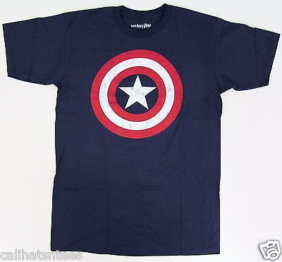 CAPTAIN AMERICA T-shirt Marvel Comics Distressed Shield Logo Tee Men's New - Captain America Shield Adults