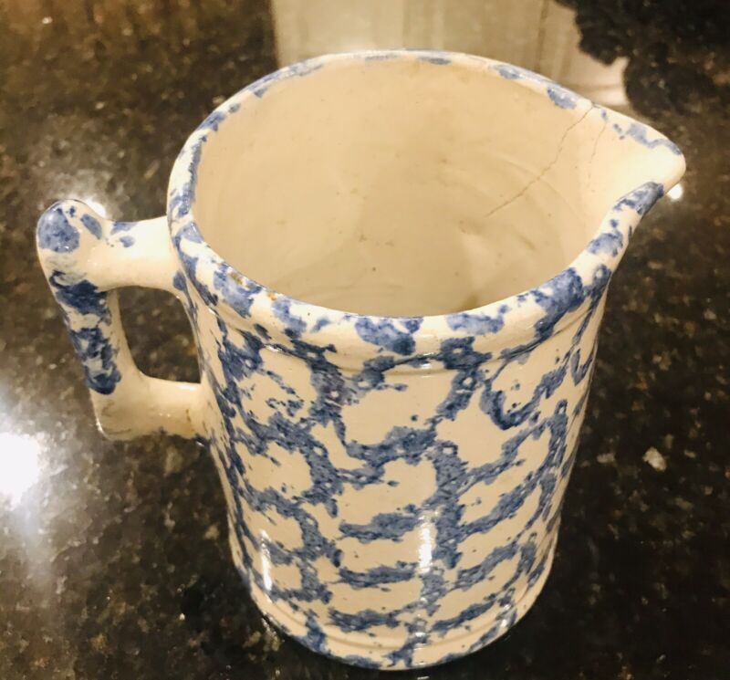 "ANTIQUE BLUE & WHITE SPONGEWARE PITCHER-SMOKE RING-1800's-PRIMITIVE-7"" TALL"