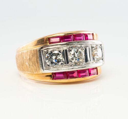 Mens Diamond Ruby Ring 14K Gold Band Vintage Estate