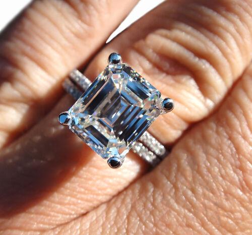 GIA Certified 6.00 Carat Emerlad Cut Diamond Bridal Ring Set Platinum