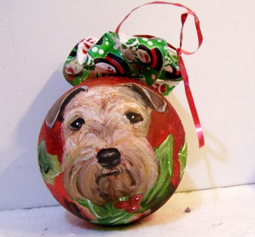 hand painted Welsh Terrier on  Christmas glass Ornament original art x large