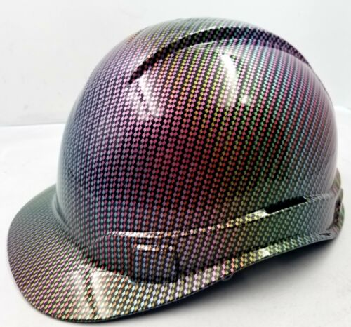 Hard Hat custom hydro dipped , OSHA approved NEO CHROME CARBON FIBER NEW SICK 2