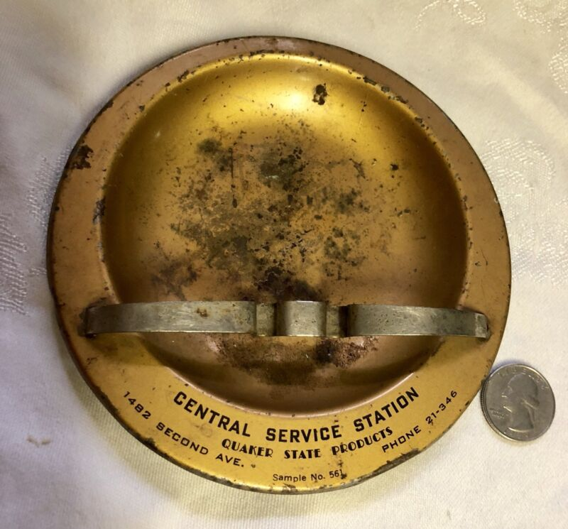 "Vintage Gas & Oil Metal Advertising Ashtray""CENTRAL SERVICE STATION""QUAKER STATE"