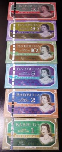 BARBUDA 6 PCS SET 1 2 5 10 20 50 DOLLARS 2019 UNC HYBRID POLYMER QEII