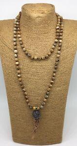 Picture jasper pendant ebay fashion long knot picture jasper beads resin ox horn pendant necklace handmade aloadofball Image collections