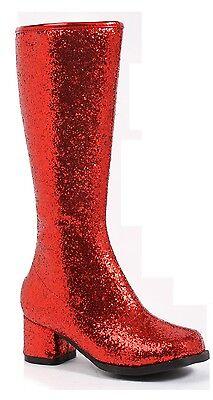 Red Glitter 60s 70s Gogo Dancer Little Girls Wonder Woman Boots Size 10 11 12 1 (70s Gogo Dancer)