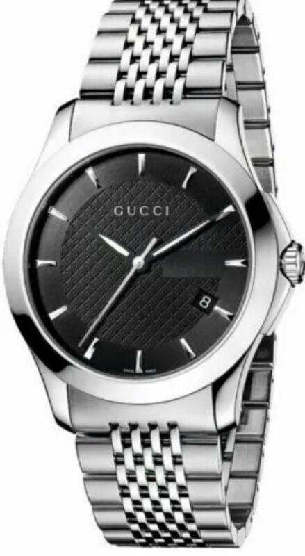 Gucci G-Timeless Black Dial Stainless Steel Bracelet YA126402 Men