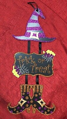 Halloween Decor Hanging Door Hat & Boots Sign