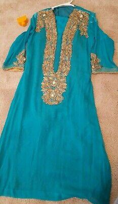 Pakistani Indian dress eid party wedding women Green turquoise embroided Shalwar