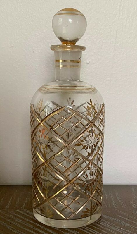 Vintage Hand Painted Cut Glass Decanter Made In Germany
