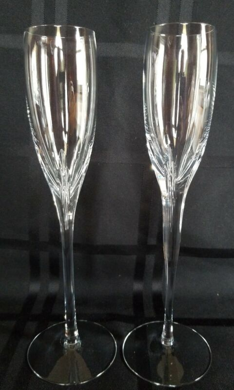 2 Lenox Firelight Crystal Champagne Flutes