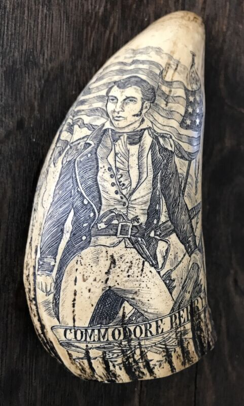 Reproduction Resin Whale Tooth Scrimshaw Commodore Perry