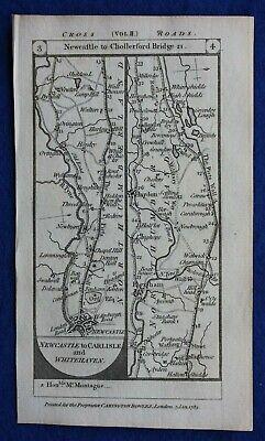Original antique road map NEWCASTLE, HEXHAM, BRAMPTON, CARLISLE, Paterson, 1785