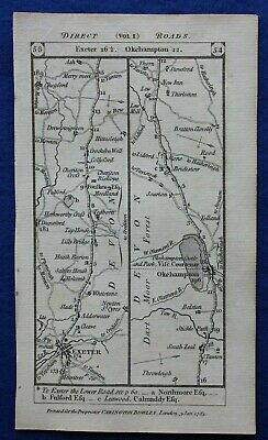 Original antique road map DEVON, CORNWALL, EXETER, LAUNCESTON, Paterson 1785