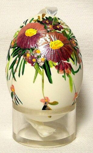 Genuine Hand Painted Duck Egg w Shiny Pansy Floral-Easter Tree Ornament Poland