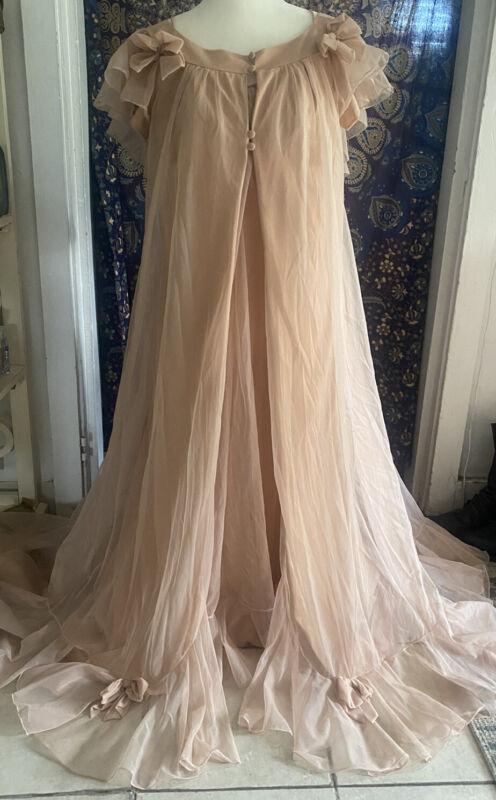 POM POM Chiffon Peignoir CLAIRE SANDRA LUCIE ANN Small Gown Robe Nightgown Long