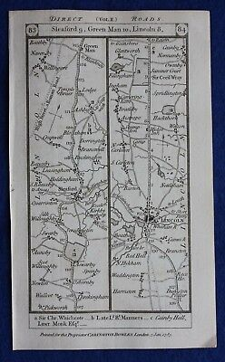 Original antique road map LINCOLNSHIRE, SLEAFORD, LINCOLN, HULL, Paterson, 1785