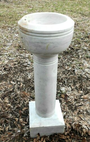 ANTIQUE SOLID MARBLE CHURCH BAPTISMAL HOLY WATER FONT-GARDEN URN