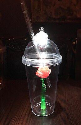 Disney Beauty & The Beast Enchanted Light Up Rose Souvenir Sipper Tumbler Cup
