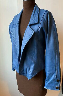 VINTAGE women's 80s 90s blue leather jacket M 10 12 batwing sleeves retro