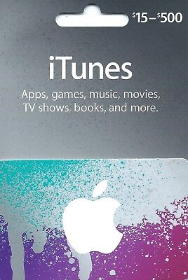 Apple iTunes Gift Card NO VALUE Rechargable $15-$500  (IL/RT6-S36-NIB), used for sale  Shipping to India