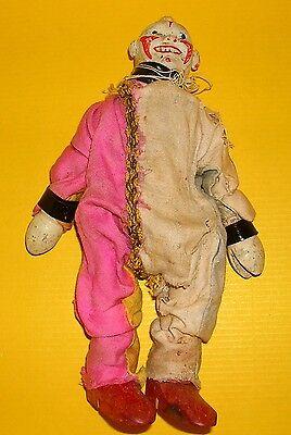 Antikes Spielzeug Clown 20 cm Holzpuppe Handarbeit alt Anfang 20.Jh.