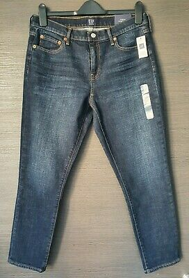 New Gap Size 30 Womens Jeans Girlfriend Dark Blue Stretch Mid Rise