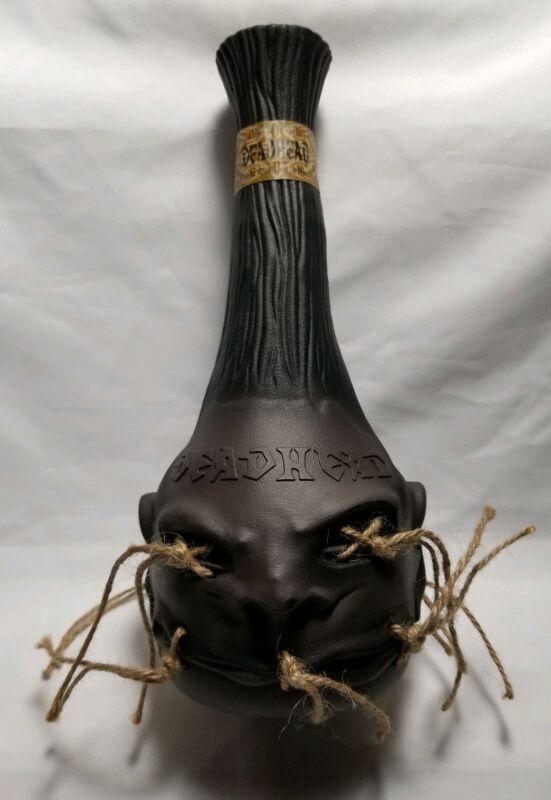 """DEADHEAD Rum Bottle EMPTY Shrunken Head 11"""" Tall Bottle for Collectors"""