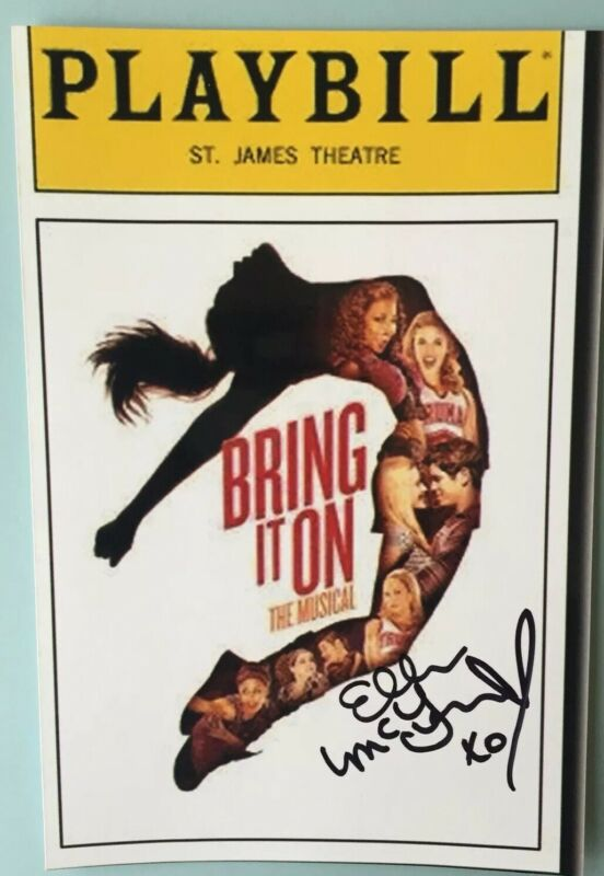 """Elle McLemore Signed Color Photo 4""""X6"""" Bring It On the Musical  Playbill Picture"""