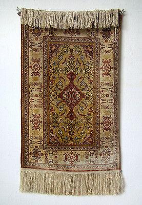 Teppich carpet Hereke Seide silk Türkei 1950-60 Goldfäden 1,2Mio Knoten 81x50 cm