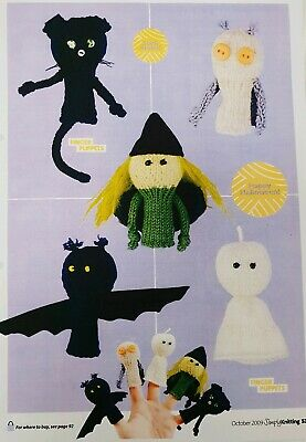 Halloween Toy knitting pattern.  Finger Puppets Witch, Owl, Cat, Bat, Ghost - Halloween Finger Puppets Craft
